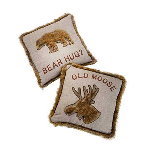 Bear Hug | Old Moose 45cm Cushion with Faux Fur Trim